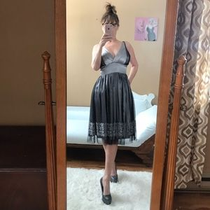 PEWTER SILVER NITE WAY COCKTAIL DRESS BLACK TULLE